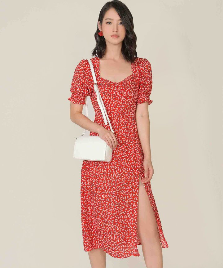 Catalina Floral Slit Midi Dress - Crimson (Backorder)