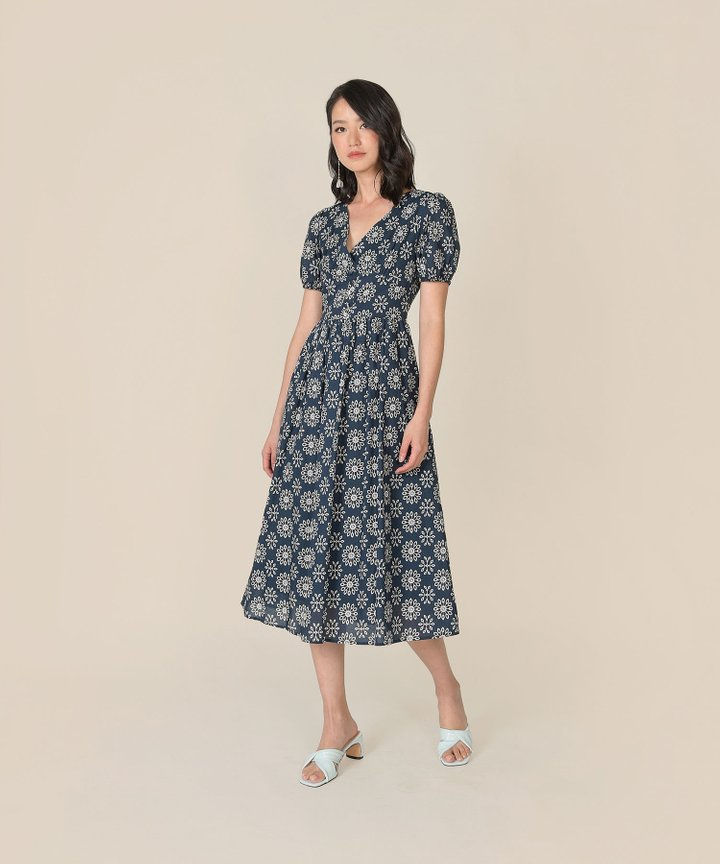 Dandelion Motif Midi Dress - Navy
