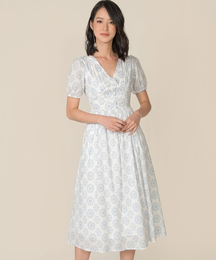 Dandelion Motif Midi Dress - White