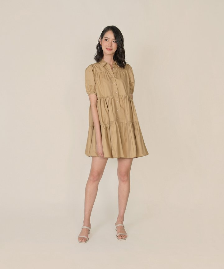 Frou Frou Babydoll Shirtdress - Latte