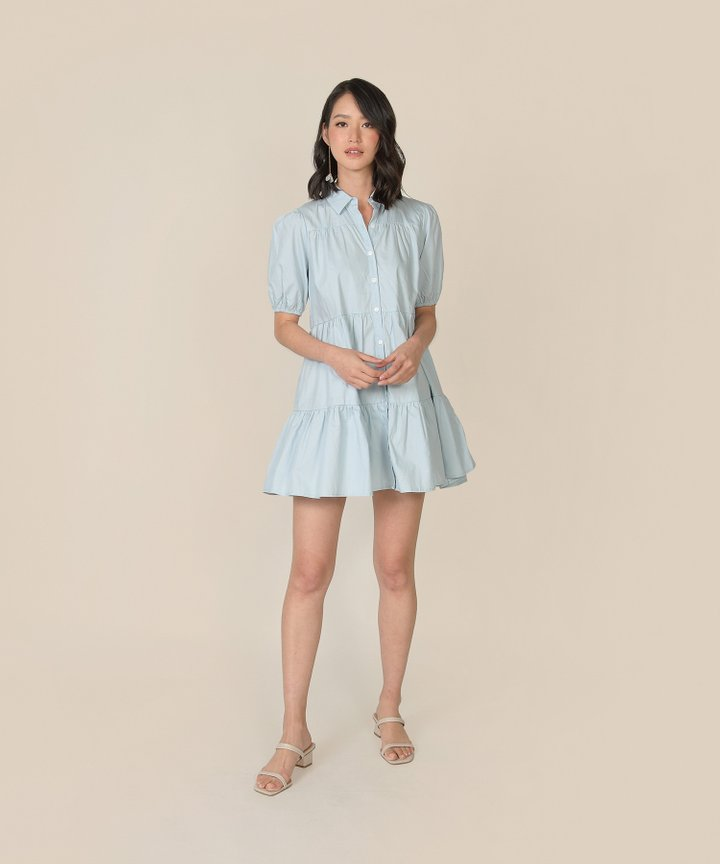 Frou Frou Babydoll Shirtdress - Pale Blue