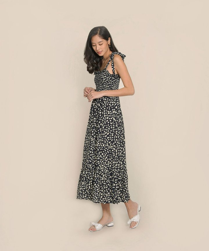 Lalisse Smocked Printed Maxi - Black