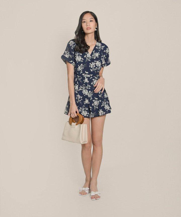 Pippa Floral Kimono Playsuit - Midnight Blue