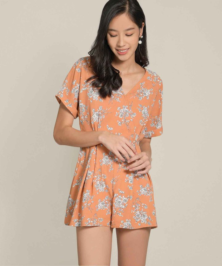 Pippa Floral Kimono Playsuit - Orange Sorbet