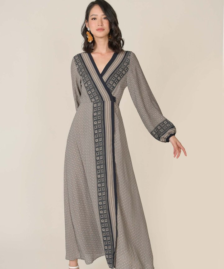 Rue Printed Wrap Maxi Dress