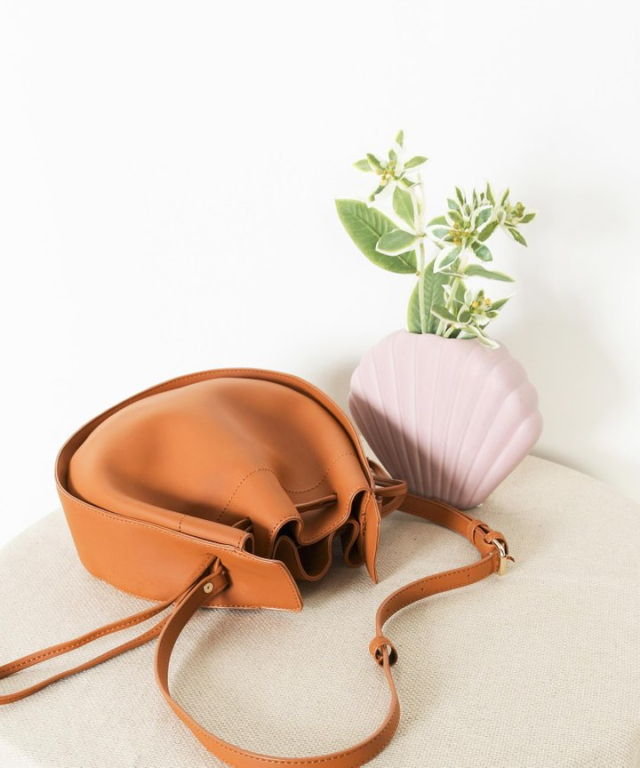 Sixtine Circle Bucket Bag - Caramel (Backorder)