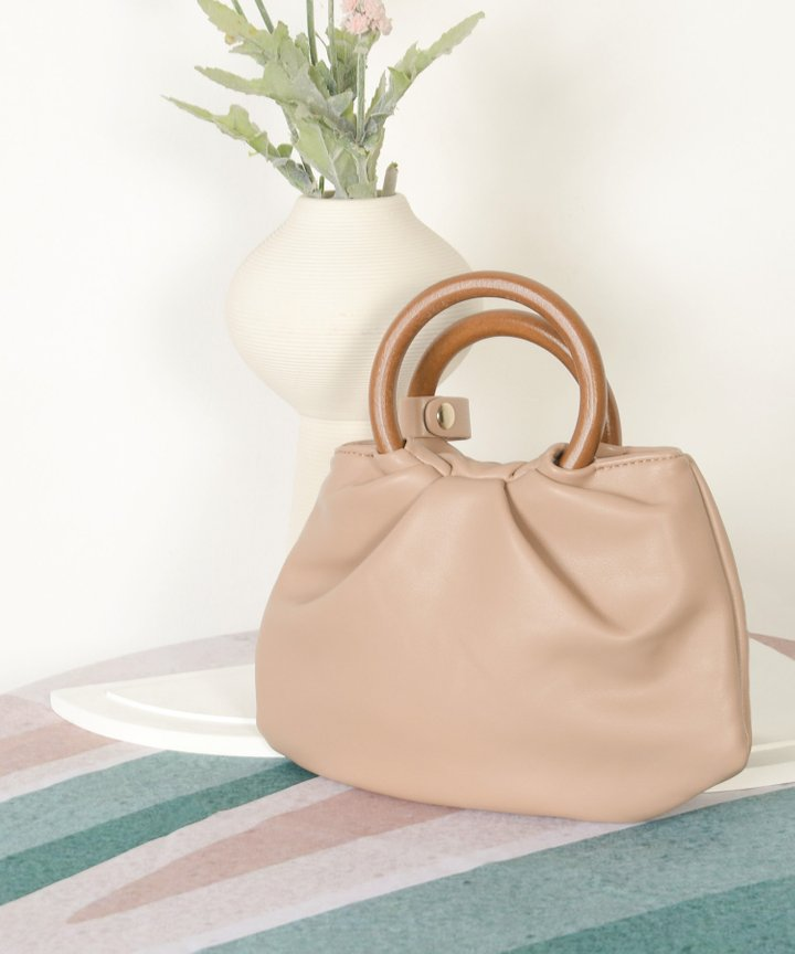 Affogato Wooden Handle Bag - Warm Taupe