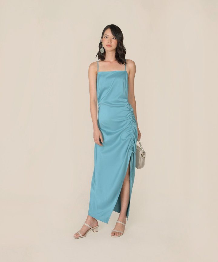 Amandine Satin Gathered Dress - Ocean