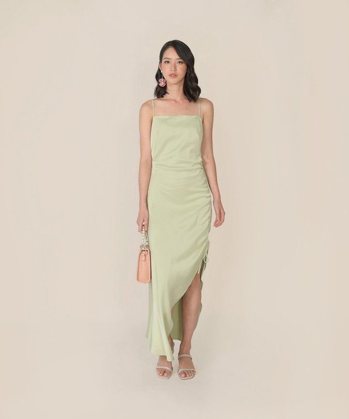 Amandine Satin Gathered Dress - Tea Green
