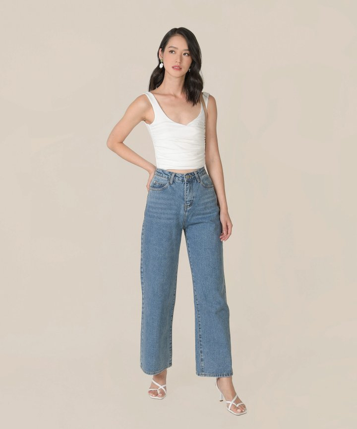Antaara Ruched Cropped Top - Chalk