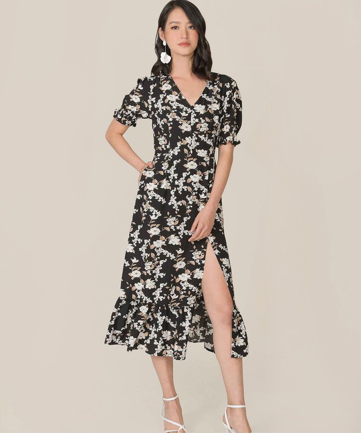Azure Floral Mermaid Midi Dress - Black