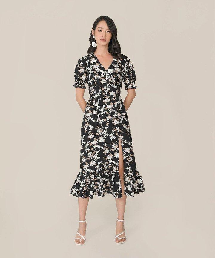Azure Floral Mermaid Midi Dress - Black