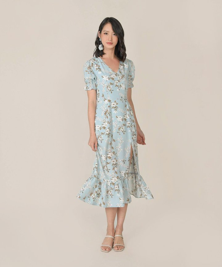 Azure Floral Mermaid Midi Dress - Pale Blue