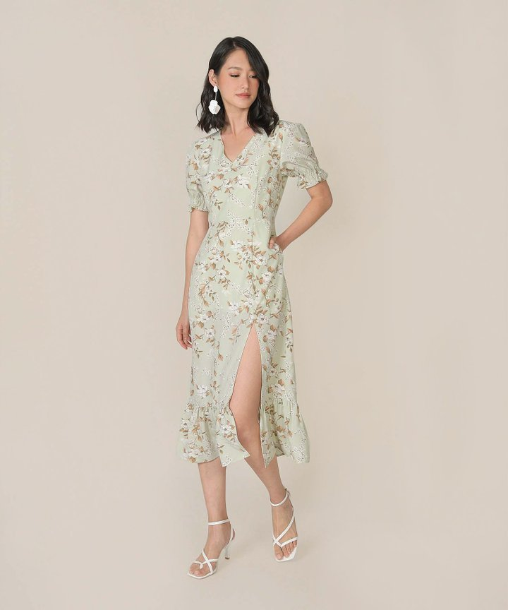 Azure Floral Mermaid Midi Dress - Pale Pistachio