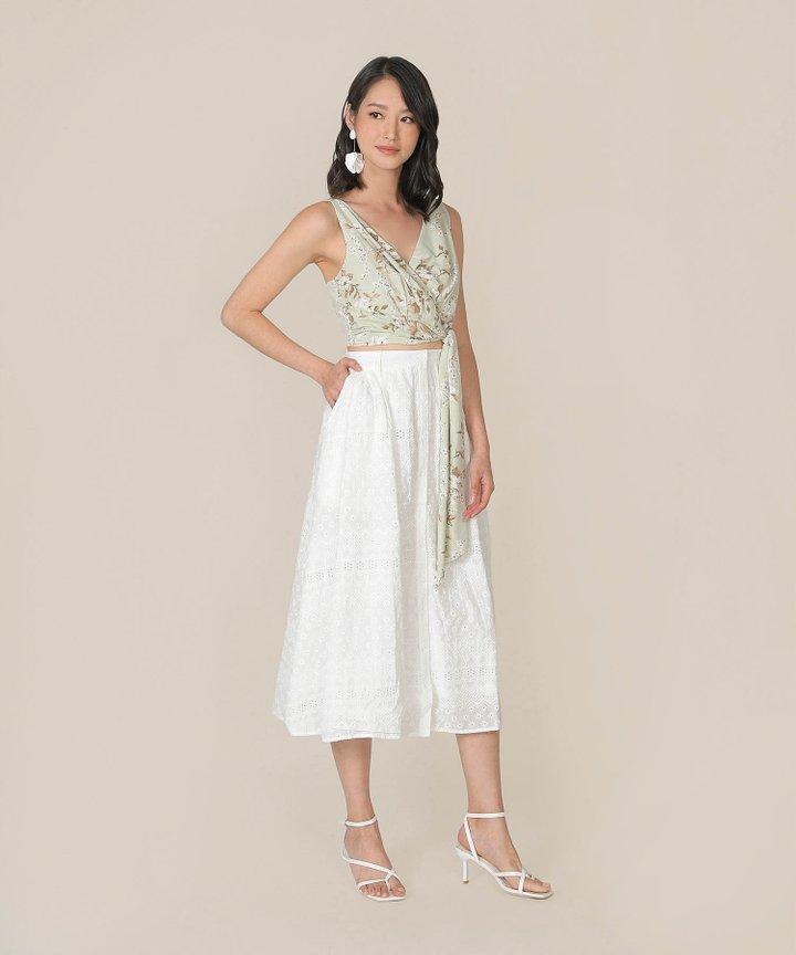 Helene Embroidered Midi Skirt - White