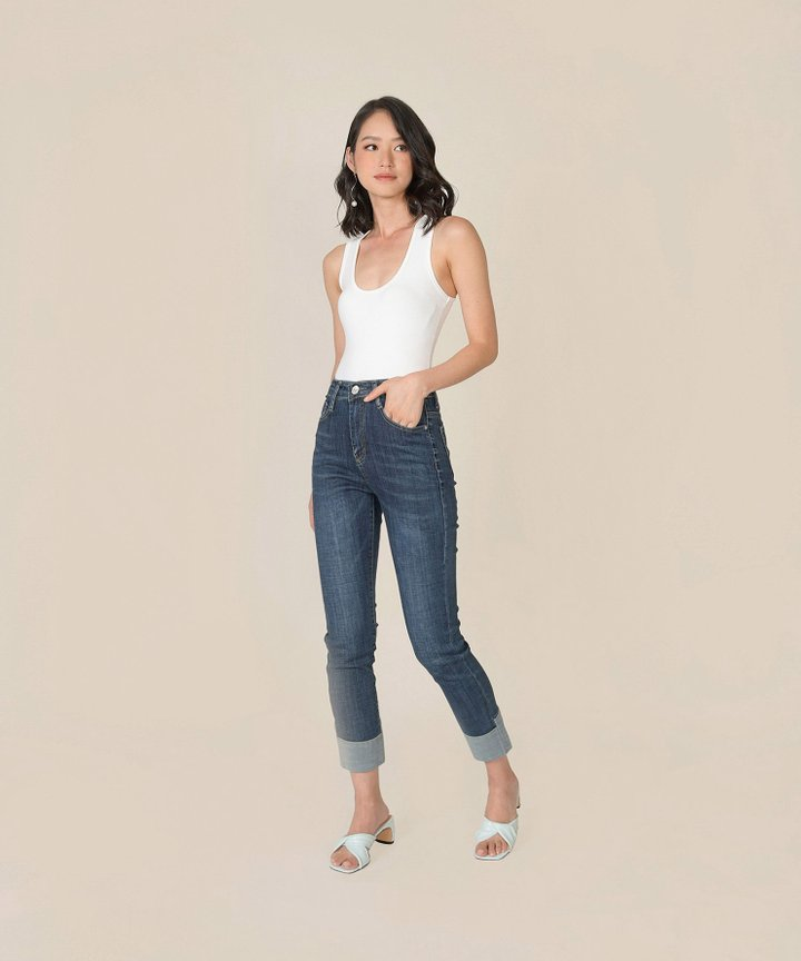 Bambino Contrast Cuff Jeans - Dark Blue