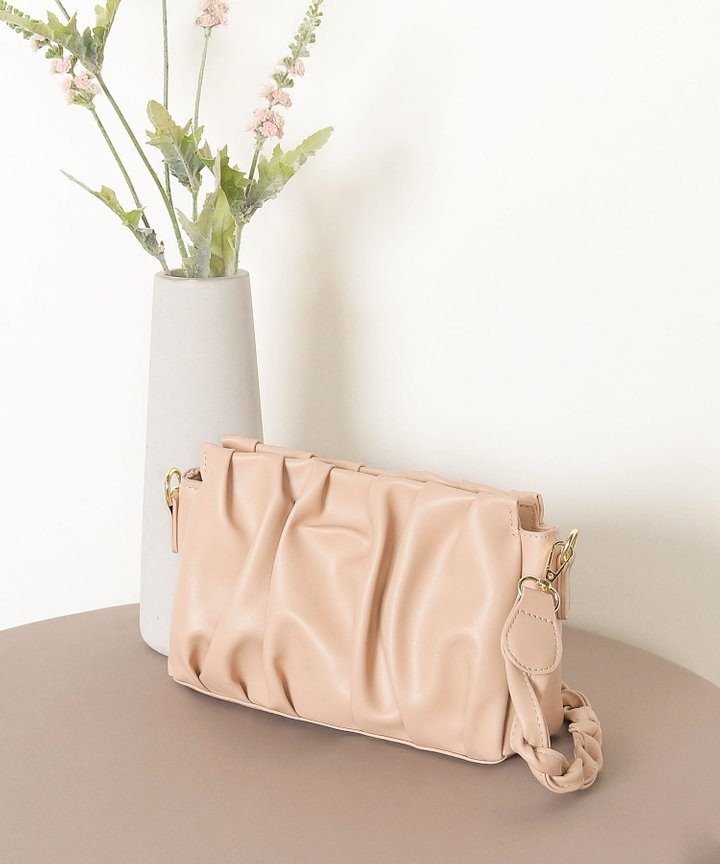 Béchamel Ruched Bag - Nude