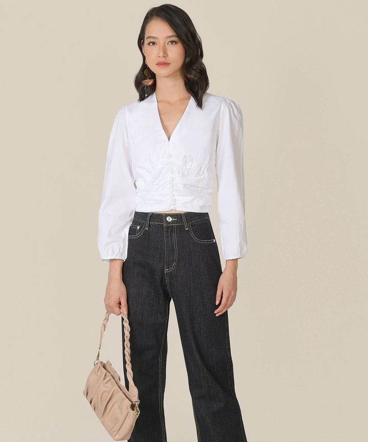 Beauvoir Ruched Blouse - White