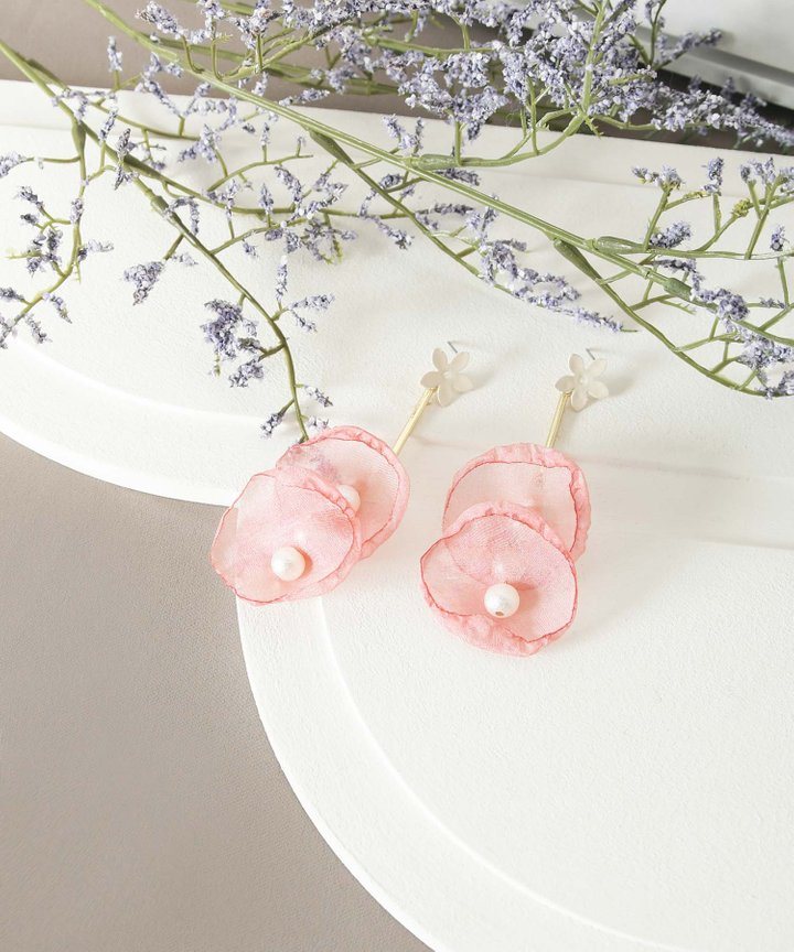Cloud Floral Drop Earrings - Pink