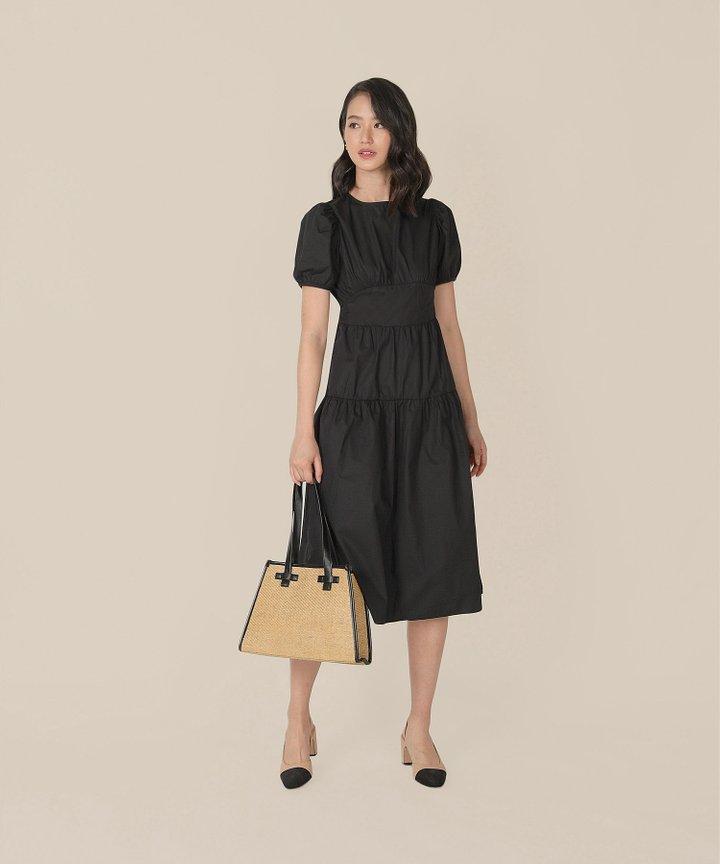 Contessa Gathered Midi Dress - Black