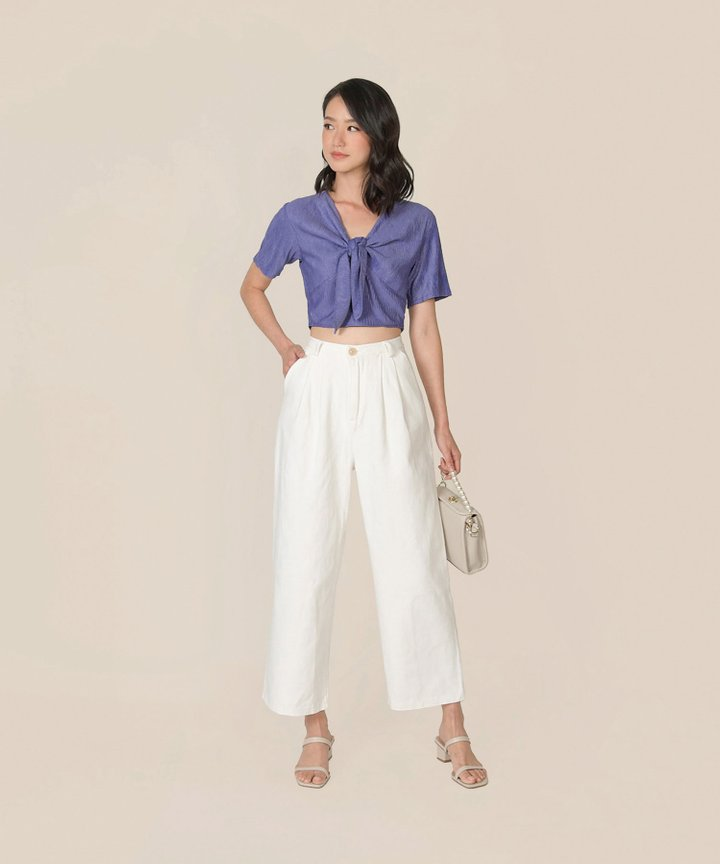 Florentine Tie-Front Cropped Top - Periwinkle