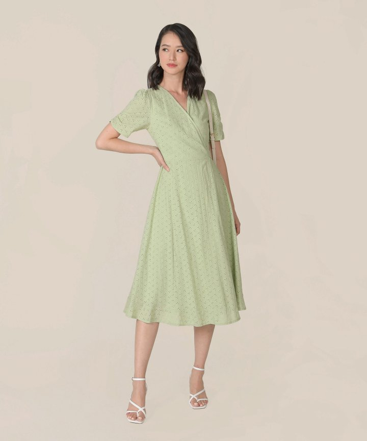 HVV Atelier Ananya Eyelet Wrap Midi Dress - Tea Green (Backorder)