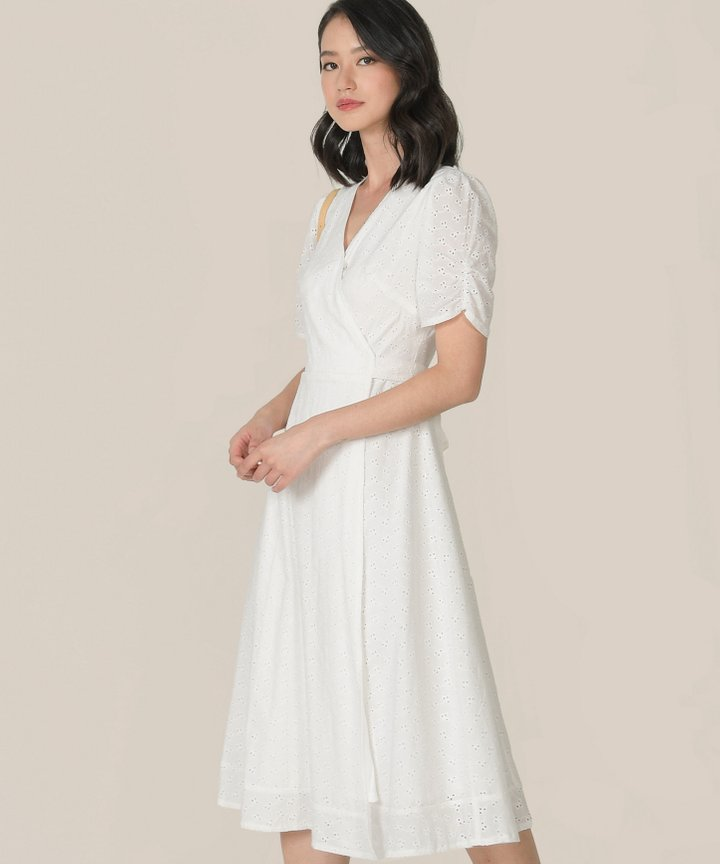 HVV Atelier Ananya Eyelet Wrap Midi Dress - White (Backorder)