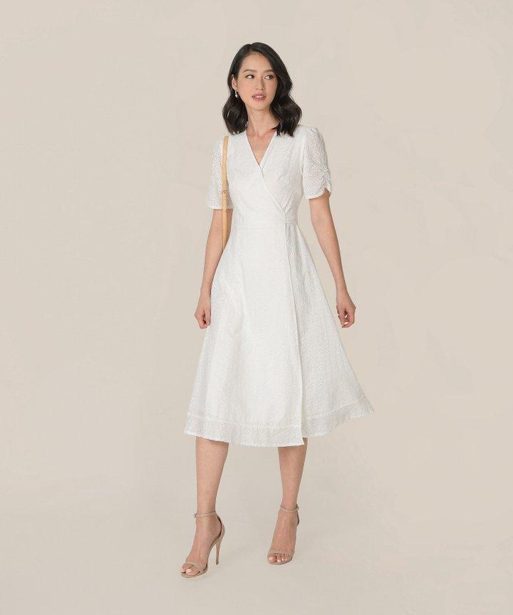 HVV Atelier Ananya Eyelet Wrap Midi Dress - White (Backorder)