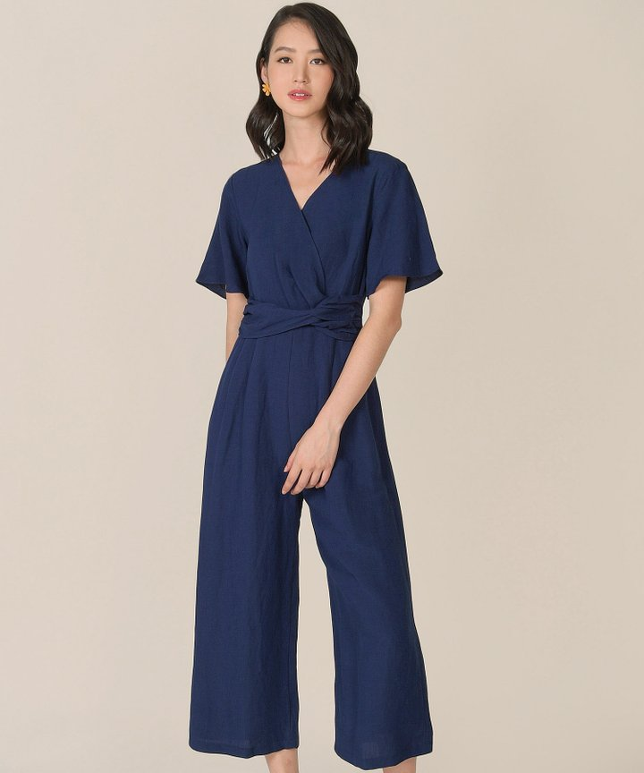 Kinsella Knotted Wrap Jumpsuit - Navy