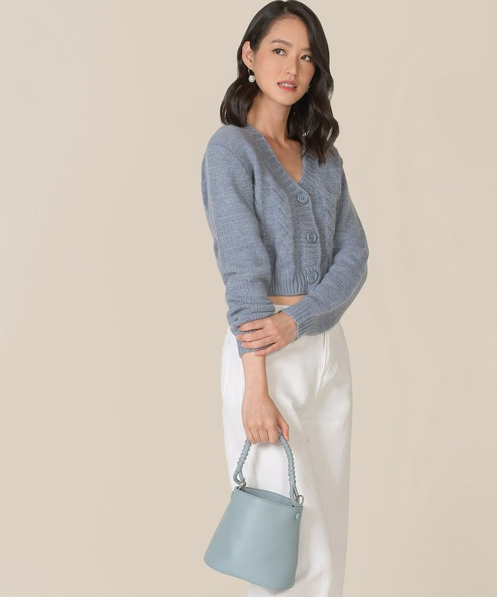 Viola Mini Bucket Bag - Stone Blue
