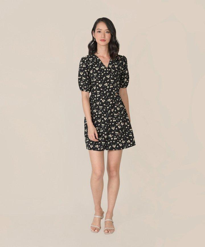 Mimette Floral Wrap Dress - Black