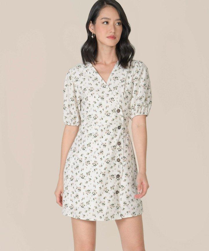 Mimette Floral Wrap Dress - White