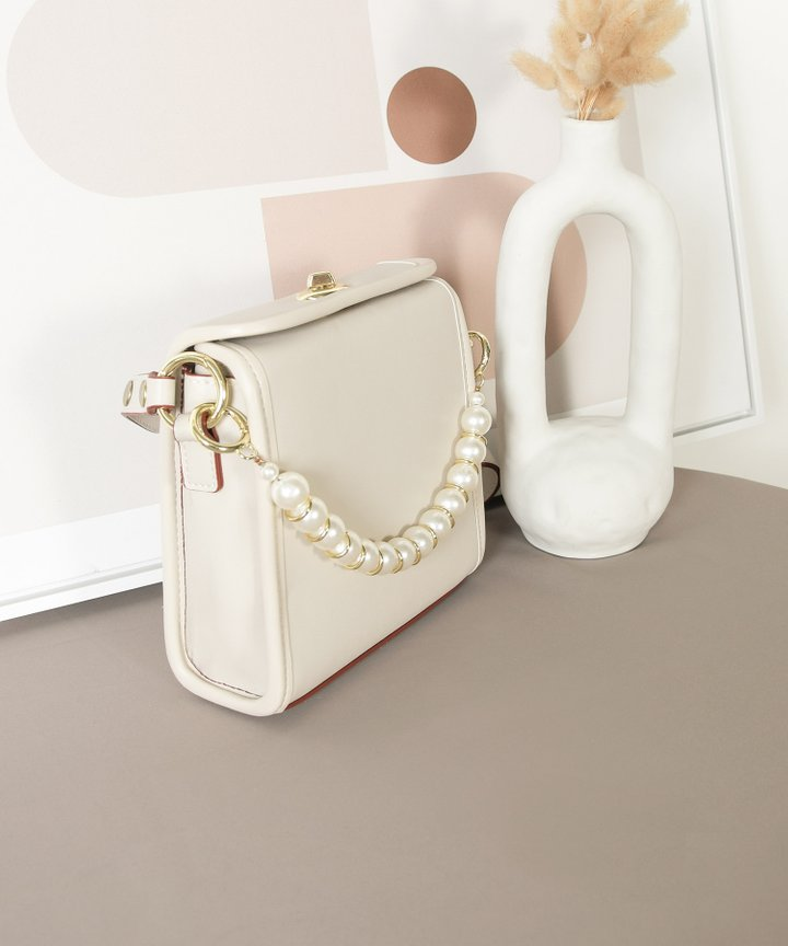 Nanette Pearl Handle Bag - Stone