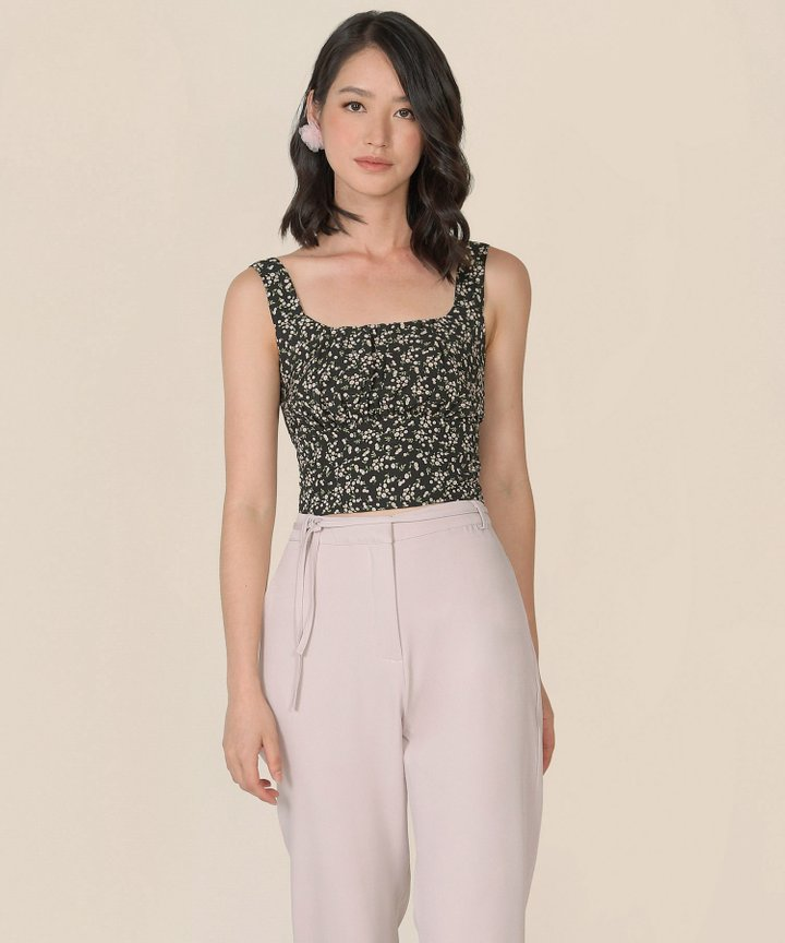 Nectar Floral Ruched Top - Black