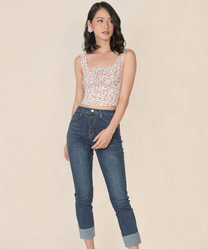 Nectar Floral Ruched Top - White