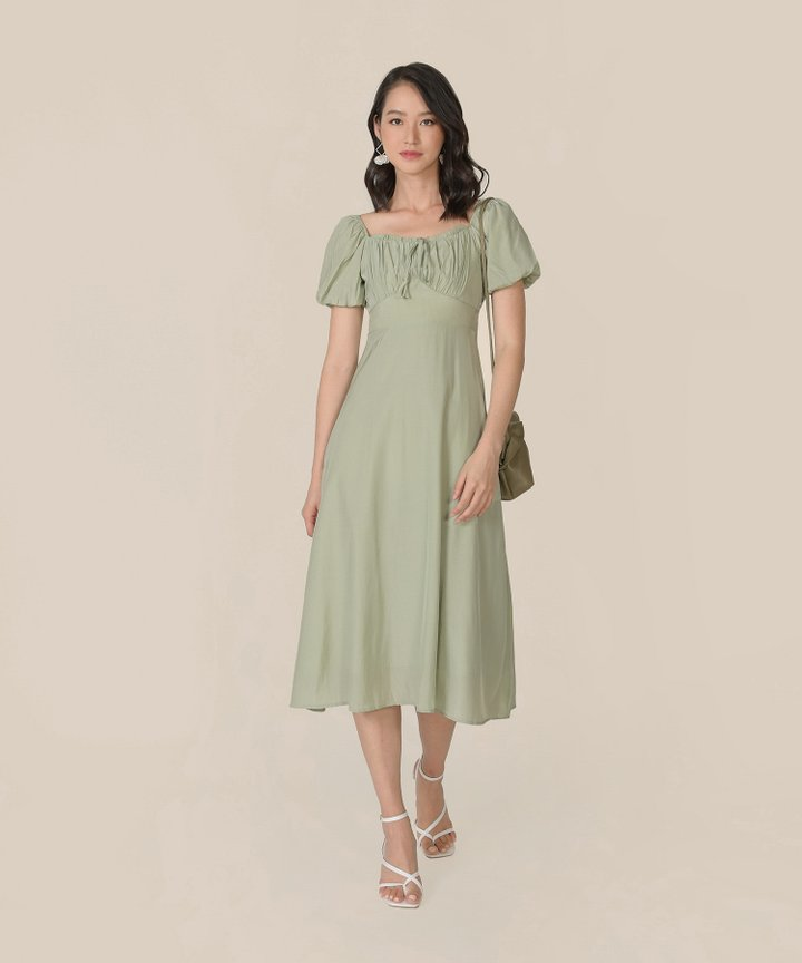 Sencha Ruched Midi Dress