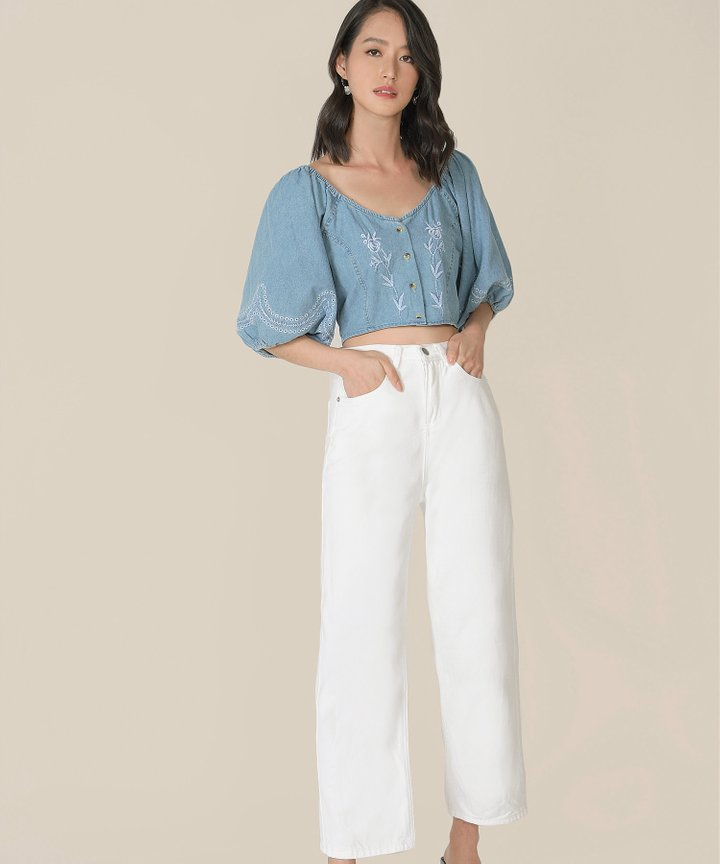 Sinclair Denim Embroidered Cropped Top (Backorder)