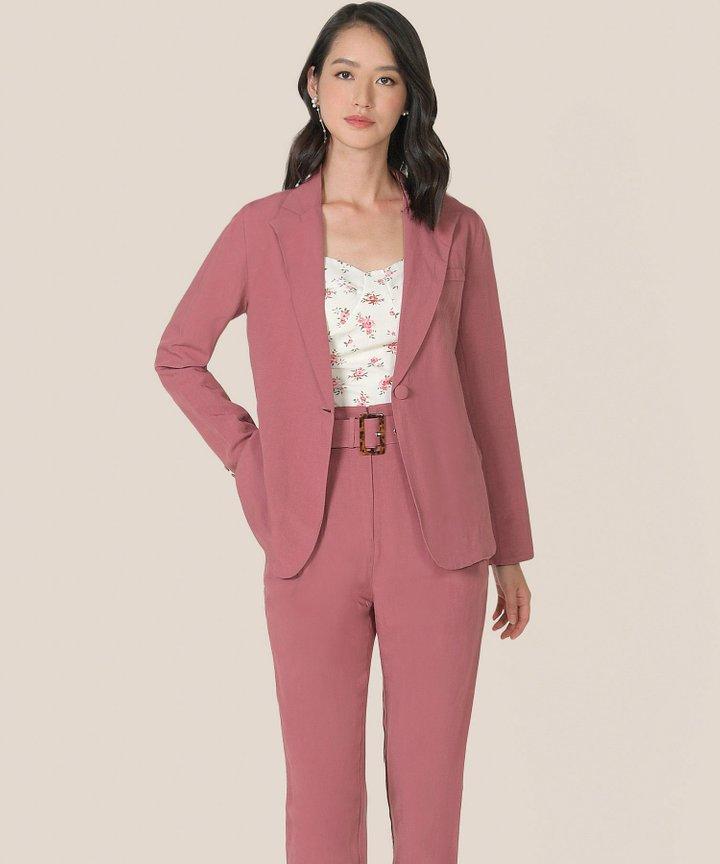 Sorbet Linen Blazer - Raspberry