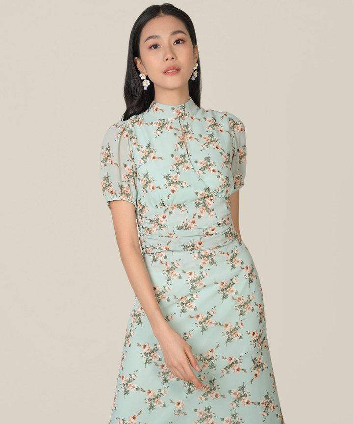 Anelise Floral Asymmetrical Midaxi Skirt - Pale Jade