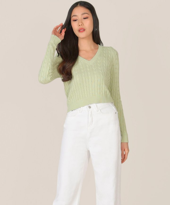Aquarius Knit Sweater - Green Tea