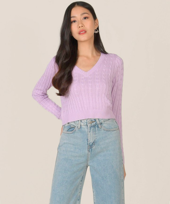 Aquarius Knit Sweater - Lilac