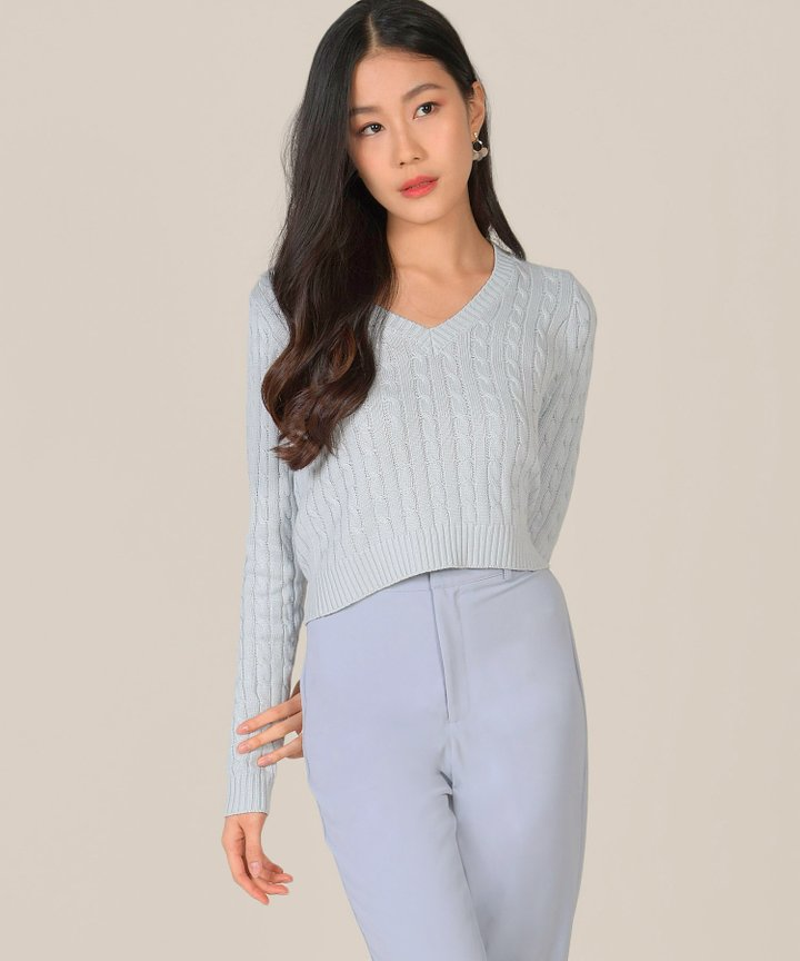 Aquarius Knit Sweater - Mist Blue