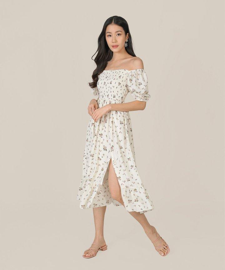 Arabella Floral Smocked Midi Dress - Cream