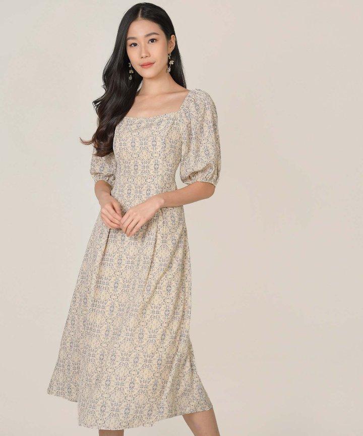 Artesia Floral Motif Midaxi Dress - Oat