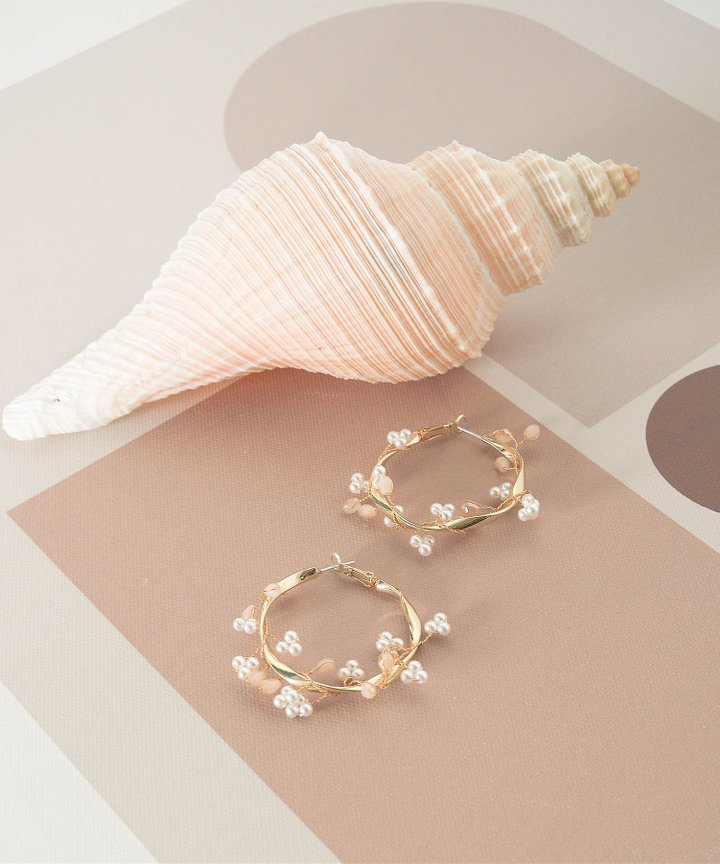 Brandice Pearl Hoop Earrings