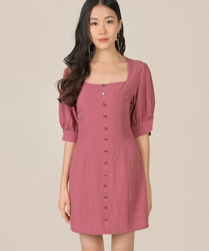 Caprice Button Down Dress - Rose Pink