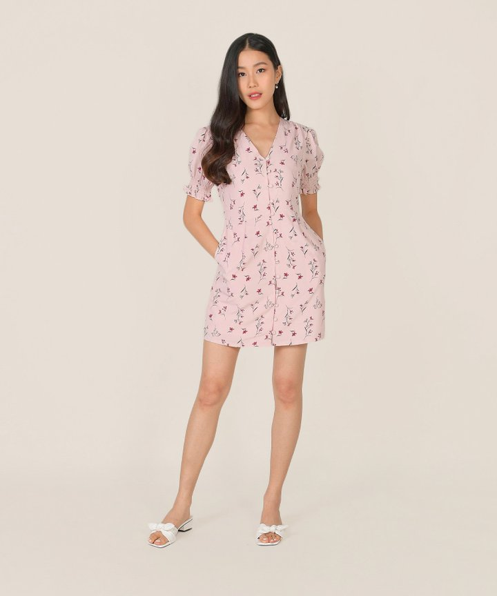 Carlotta Floral Button Down Dress - Rose Quartz