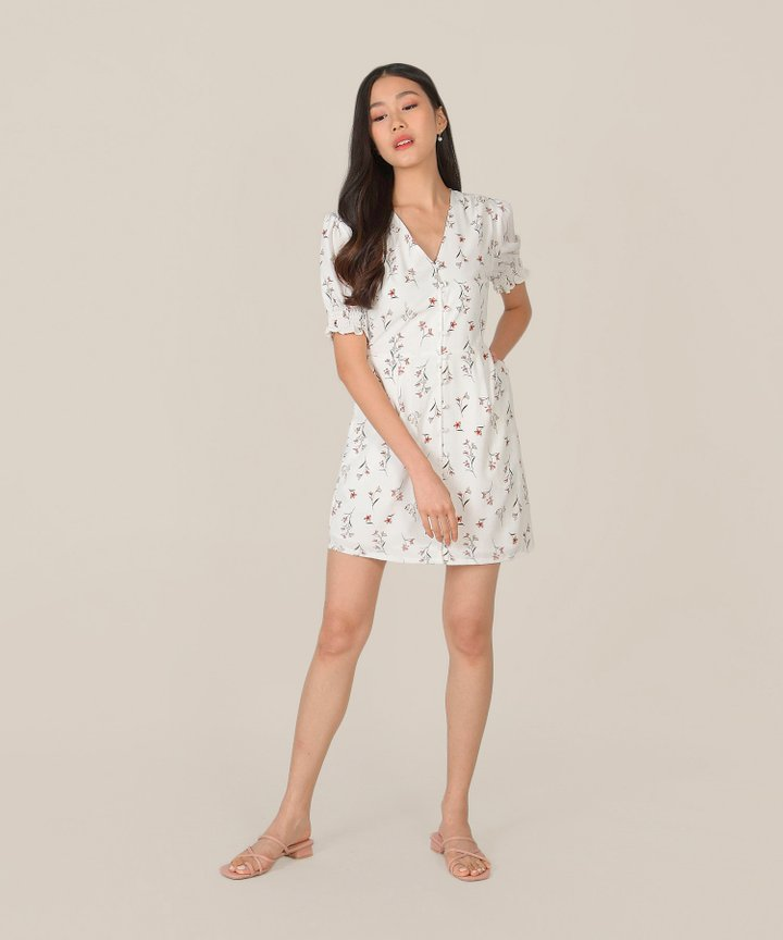 Carlotta Floral Button Down Dress - White