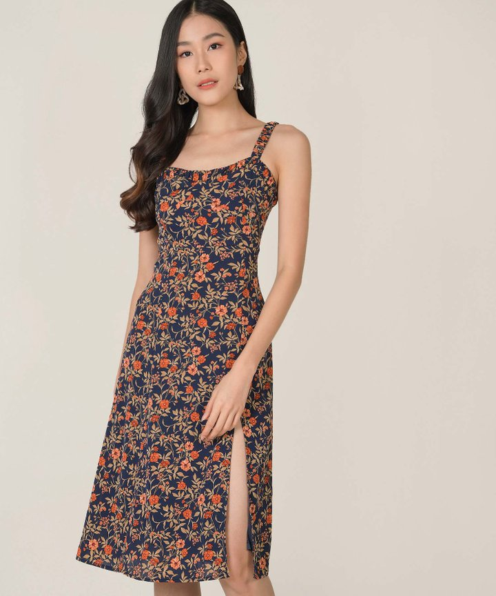 Chandelle Floral Slit Midi Dress - Navy