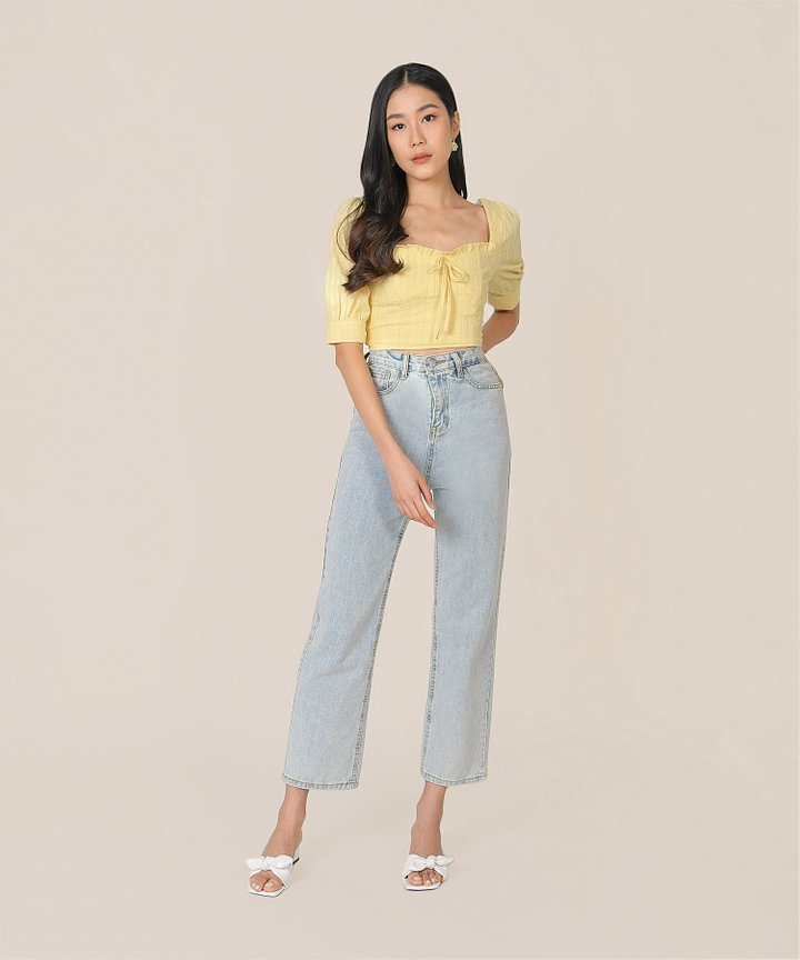 Cordelia Embroidered Cropped Top - Lemon Meringue